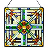 18''H Mission Style Southwest Stained Glass Window Panel