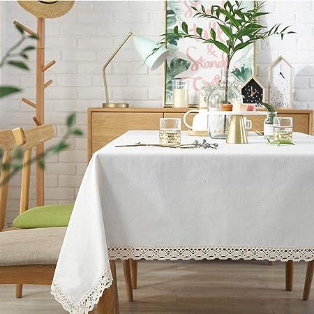 Telihome Mantel con Encaje Blanco Elegante Mantel Rectangular Algodón Mantelería de Tabla para la Cena en el Hogar Cubierta de Mesa de Té Cremosa-Blanca, 120 * 160 cm: Amazon.es: Hogar