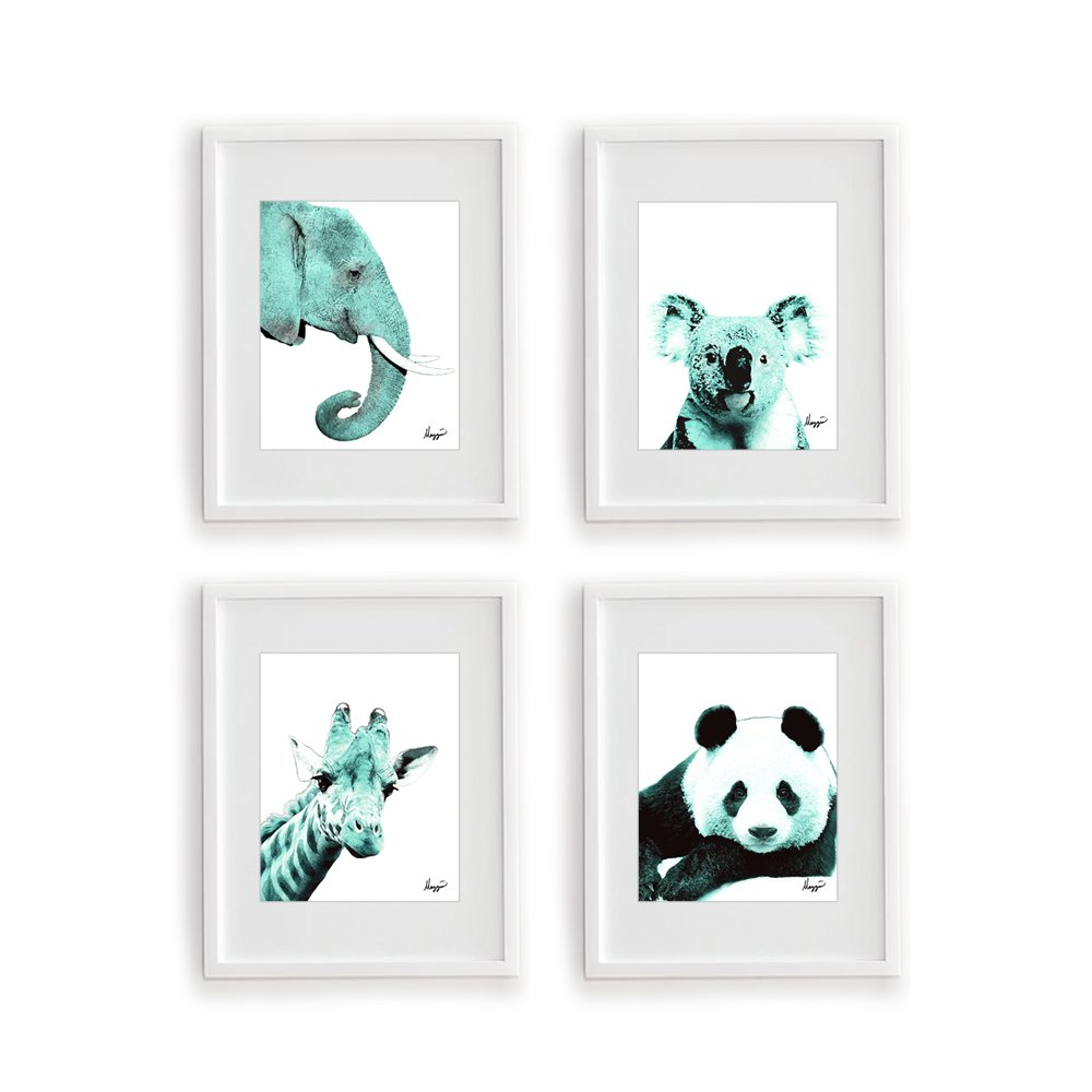 Giraffe Perfect for Babys Room Color Accent Bundle 4 Stylish 8x10 Wall Art Decor Print Set By Mazzio Arts Only at Wallables! Kids Room Panda Nursery Koala Teal Nursery Animals Elephant