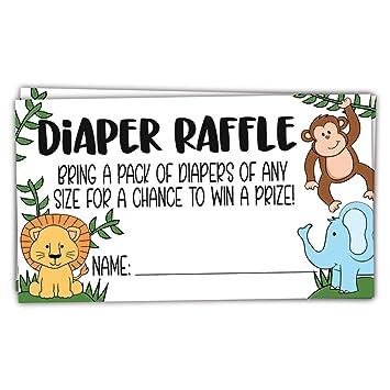 Amazon Com 50 Safari Jungle Animals Diaper Raffle Tickets For Baby