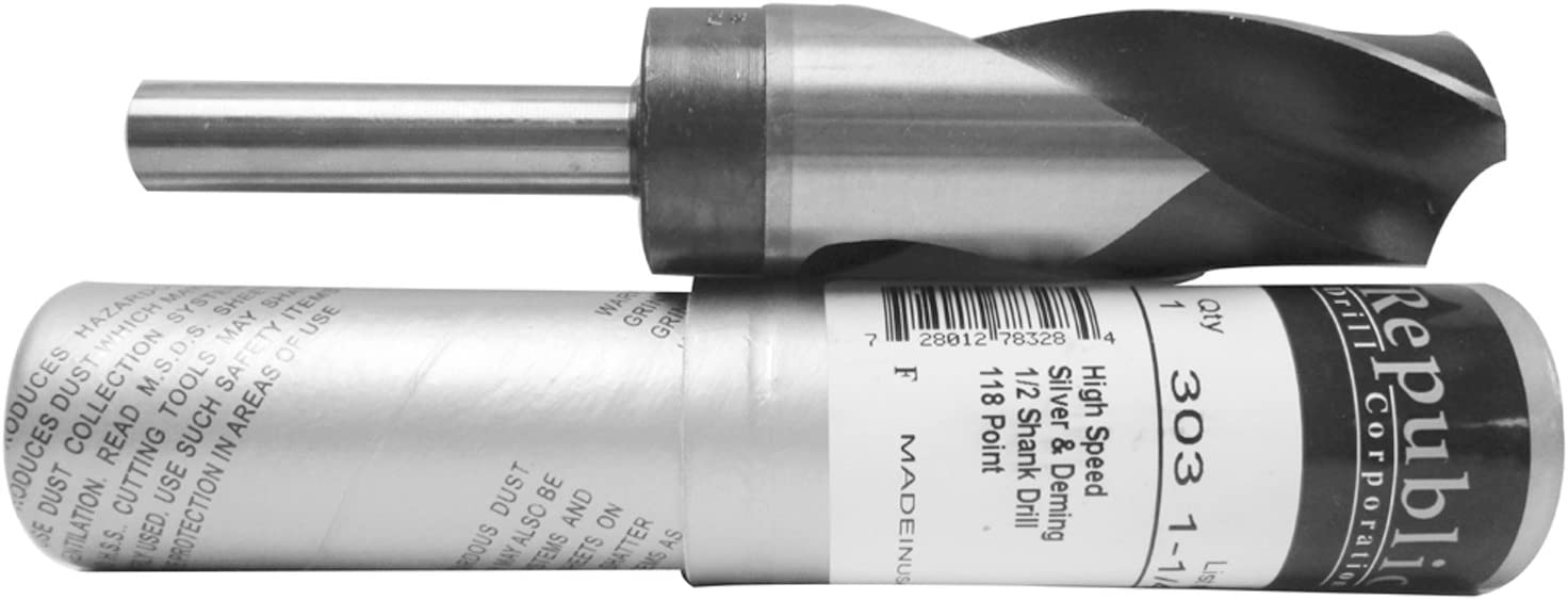 Drill Bits 41//64 High Speed Steel 1//2 Shank 1 Pc. Silver /& Deming