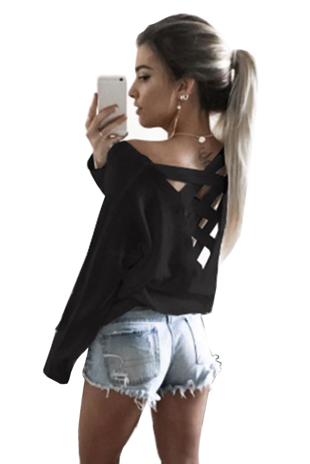 Yingkis Women Cut Out Loose Pullover Criss Cross Backless Sweater Shirt Top,B M