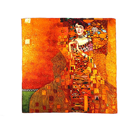 Aqueena Women's 100% Luxury Charmeuse Satin Square Silk Scarf Oil Paintings (Gustav Klimt's Ladies )