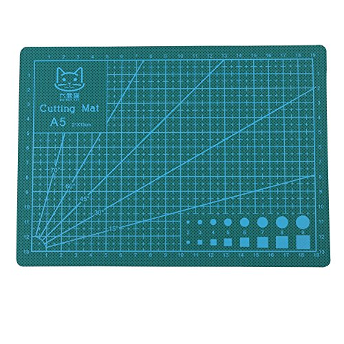A5 Durable PVC Cutting Mat, 210 ×150 mm Colorful Self-Healing Cutting Pad, Professional Non-Slip Cutting Board for DIY Handmade, Quilting, Sewing and Arts & Crafts Projects Tool (Green)