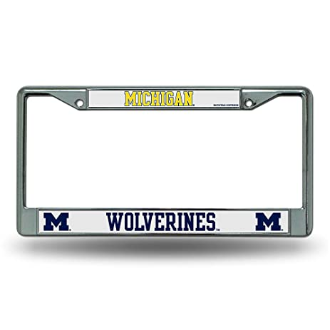 Amazon.com : Michigan Wolverines Chrome License Plate Frame : Sports ...