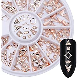 NICOLE DIARY Rose Gold Rivet Nail Studs Oval Circle Square Triangle Hollow Frame Mixed DIY Metallic 3D Nail Decoration
