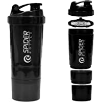 Protein Shaker Bottle with 3-Layer Twist and Lock Storage, 100% BPA-Free Leak Proof Fitness Sports Nutrition Supplements…