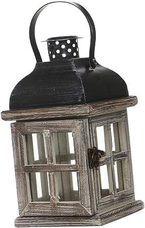 Lámpara de Velas, Portavelas de Madera Caja de Velas, Adornos de Jardín - 1: Amazon.es: Hogar