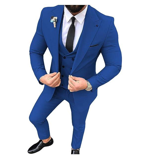 Traje de Hombre de 3 Piezas, Ajustado, para Hombre (Azul + Chaleco + Pantalones)