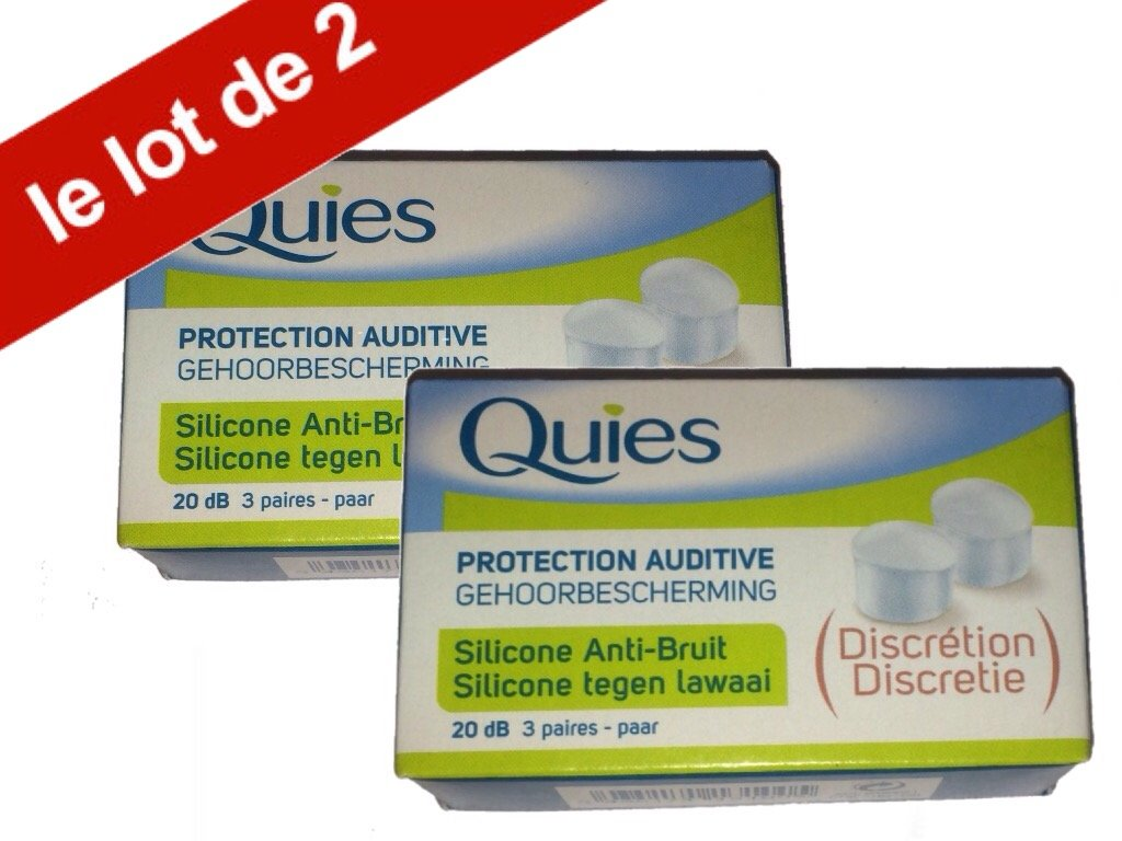 Quies - Boules Quies de Protection auditive en silicone Anti-Bruit 20dB - Lot de 2 Boites de 3 Paires 271164DH