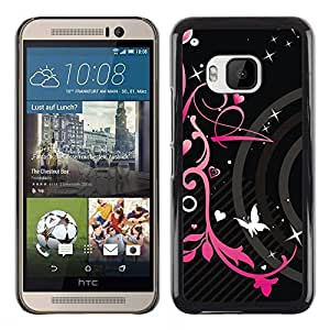 Impact Case Cover with Art Pattern Designs FOR HTC One M9 Pink Black Hearts Spring Butterfly Floral Betty shop