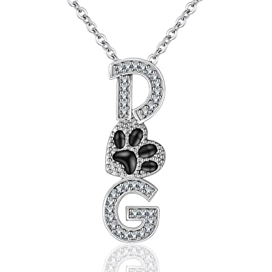 165f184e808 INFUSEU 925 Sterling Silver Dog Script Pendant Necklace Black Footprints  Cubic Zirconia Jewelry for Women