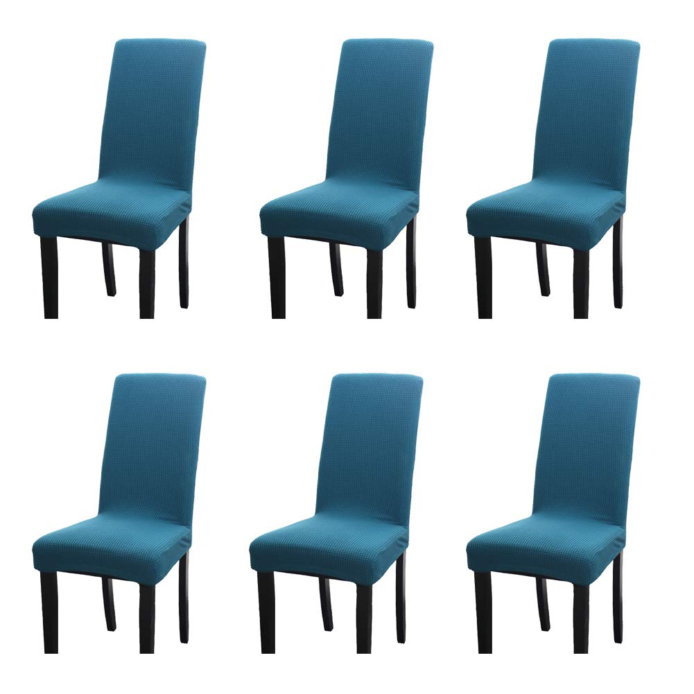 Naturer Brown Dining Chair Cover Set of 4 Jacquard Stretch Spandex Dining Room Chair Cover Removable Chair Protector Seat Covers