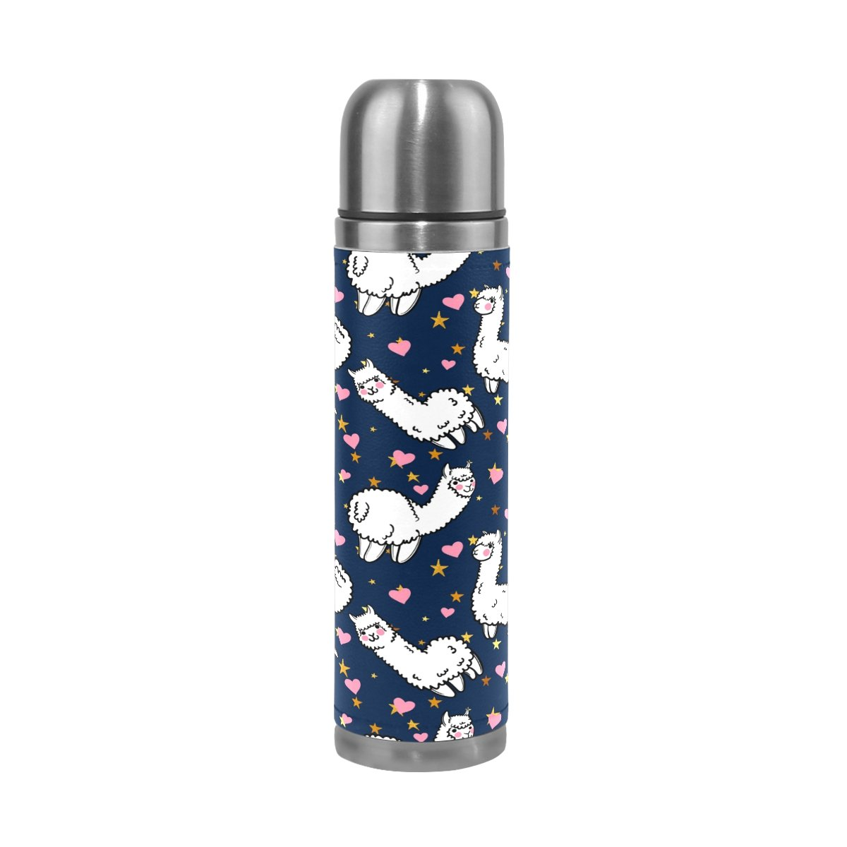 QQMARKET Alpacas Pink Heart Star Double Wall Vacuum Cup Insulated Stainless Steel PU Leather Travel Mug Bottle, Cartoon Animal Blue Christmas Birthday Gifts for Mom Dad Boys Girls Kids Lover Fr