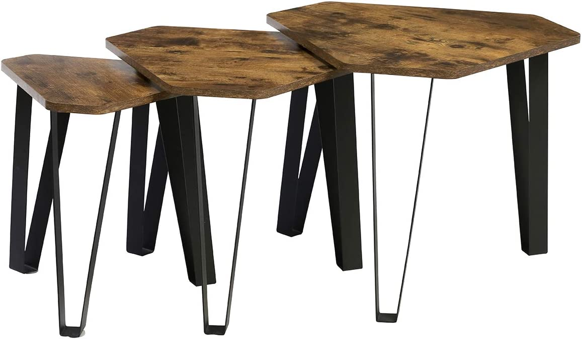 Kamiler Industrial Nesting Coffee Table, End Table Set of 3 for Living Room, Stacking Side Tables, Vintage Sofa Table for Office Bedroom, Wood Look Accent Furniture with Sturdy Metal Frame