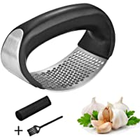 Garlic Press Rocker Stainless Steel Garlic Mincer Crusher and Peeler with Handle for Peeling Garlic Quickly and Cleaning Easily