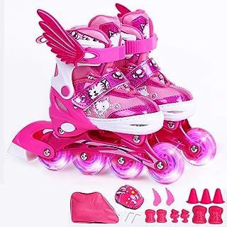 Rollers en Ligne Débutants Garçons Et Filles Inline Skates Enfants PU Flash Roue Droite Rangée Réglable Enfant Respirant Léger Rollerblades Ensemble Patins à roulettes,Pink-S(29-33)