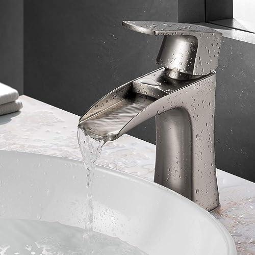 JAKARDA Waterfall Single Handle Bathroom Sink Faucet One Hole Mounted Brushed Nicke Brushed Nickel