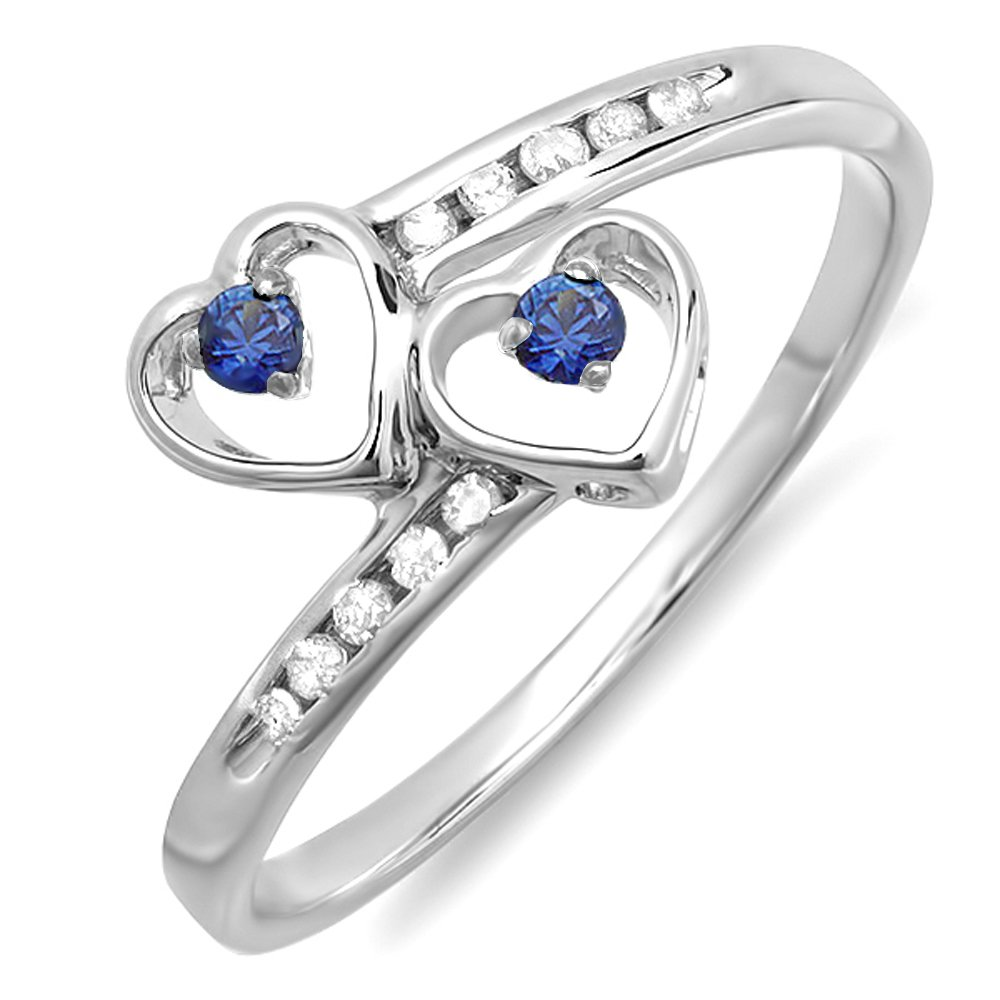 Dazzlingrock Collection Sterling Silver Blue Sapphire & White Diamond Ladies Bridal Double Heart Promise Ring (Size 7)