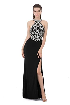 04b0ed45de Luxury Prom Dress with Slit Halter Crystal Beaded Backless Long Dress  Black,2
