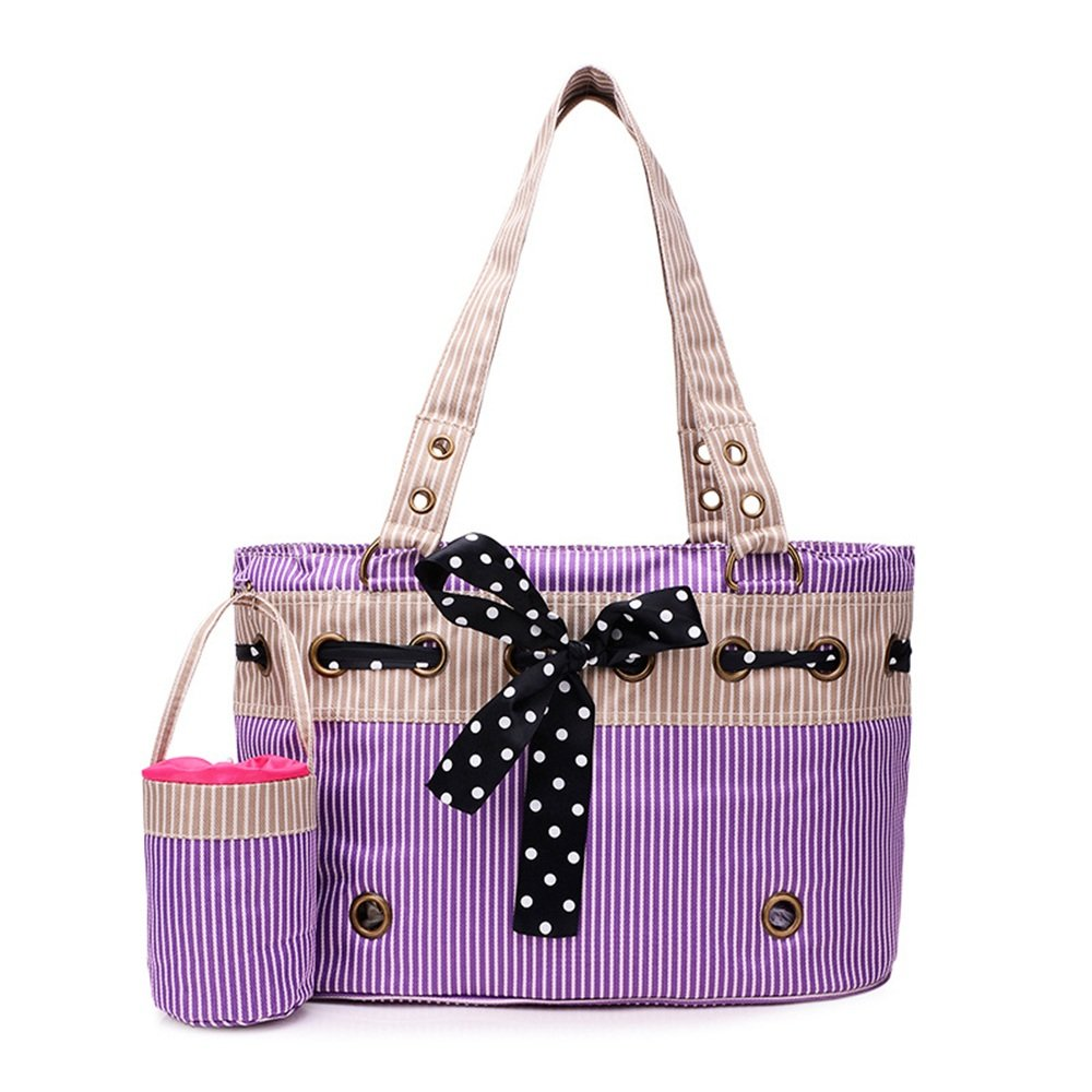 Purple Durable Comfortable Dog Cat Bag Pet Bag Striped Cat Bag Dog Bag Out of The Outdoor Bag Pet Bag Outdoor Dog Bag Horse Out of The Bag Pet Carrier Outdoor Cage Travel Bag (color   Purple)
