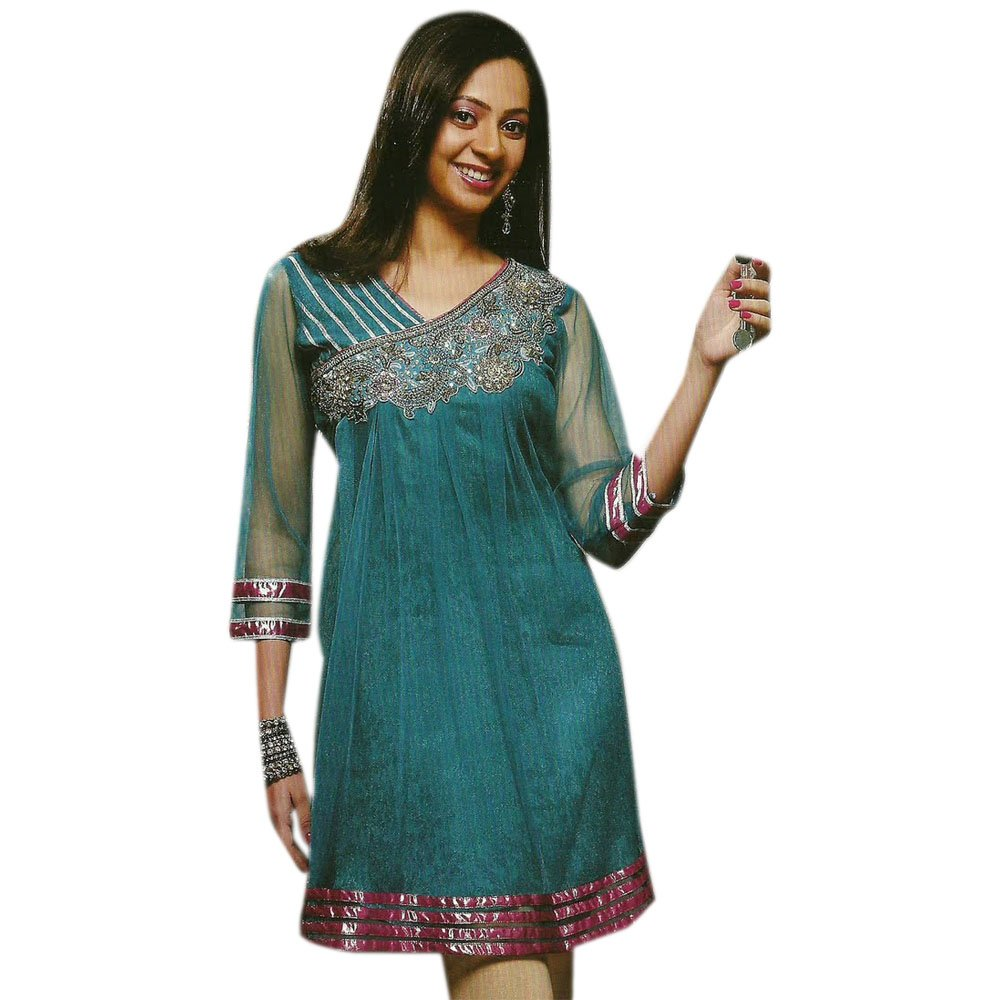 Jayayamala Blue Chiffon Tunic V Neck Stone Work Party Dress (l)