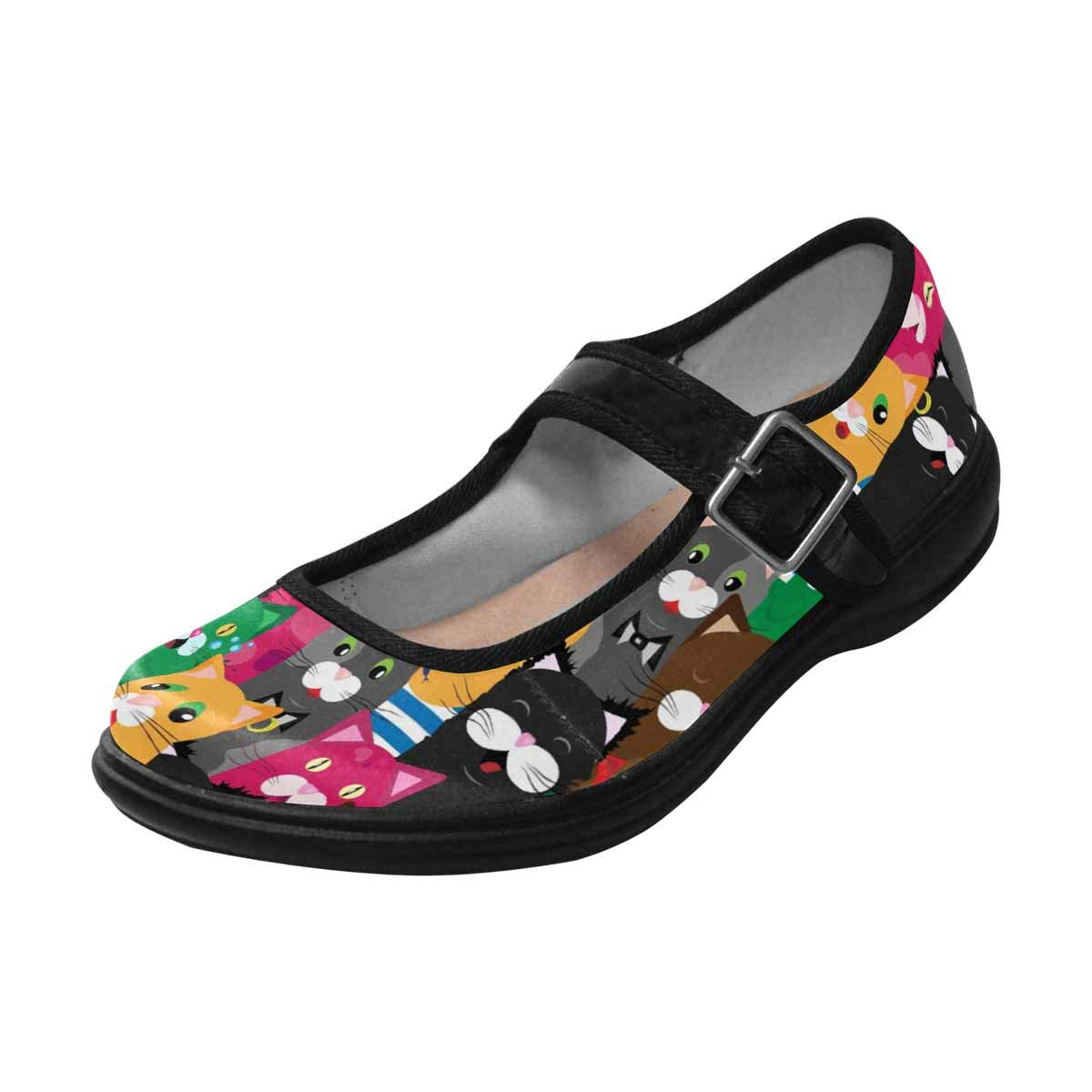 INTERESTPRINT Womens Satin Mary Jane Flats Ballet Shoes Cute Coled Cats