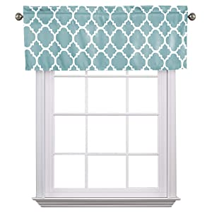 """Flamingo P Moroccan Gray Blue Valance Curtain Extra Wide and Short Window Treatment for for Kitchen Living Dining Room Bathroom Kids Girl Baby Nursery Bedroom 52"""" X18"""""""