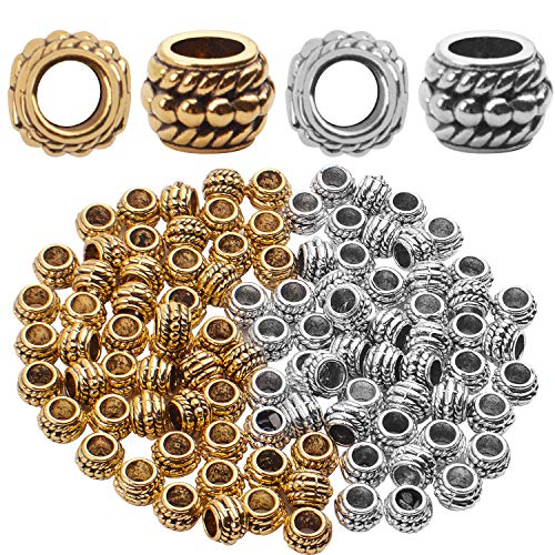 Big Hole Beads, 100pcs 8mm Tibetan Style Barrel Spacer Beads Large Hole European Charms Beads with 4mm Hole for Bracelet Necklaces Jewelry Making