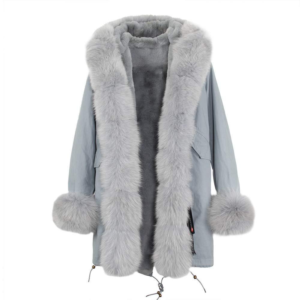 color 2 XXL JSGJCOAT Coat High Fashion Luxury Women's Large Collar Hooded Jacket Hooded Winter Warm Outwear