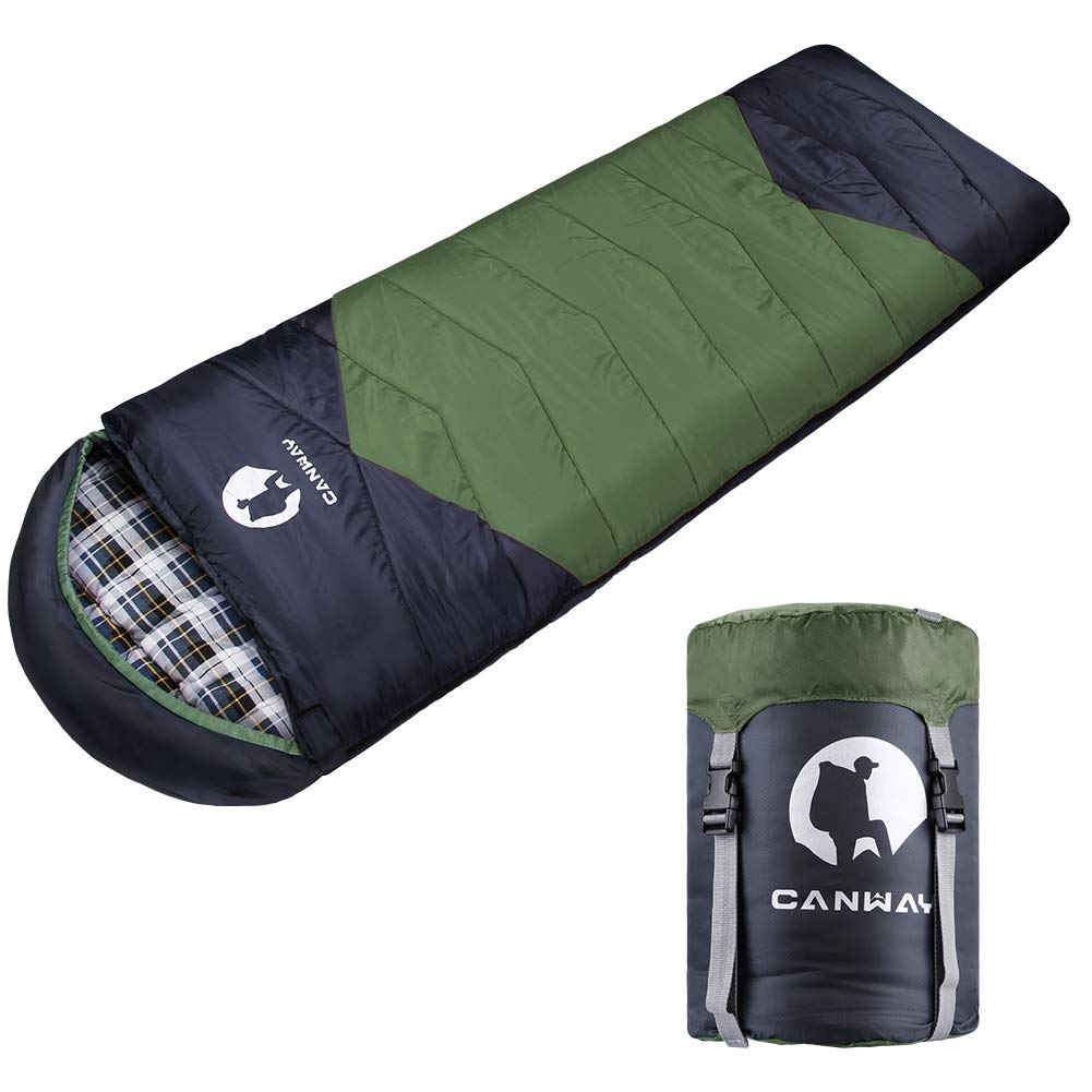 CANWAY Sleeping Bag with Compression Sack, Lightweight and Waterproof for Warm & Cold Weather, Comfort for 4 Seasons Camping/Traveling/Hiking/Backpacking, Adults & Kids (z-Green-Flannel) by CANWAY
