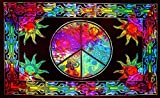Future Handmade Twin Size Tie Dye Tapestry Throw Hippie Tapestry Bohemian Beach Mat Gypsy Tapestry Multi Colour Printed Bed Sheet Room Decorating 100% Cotton Bedspread (Design 5)