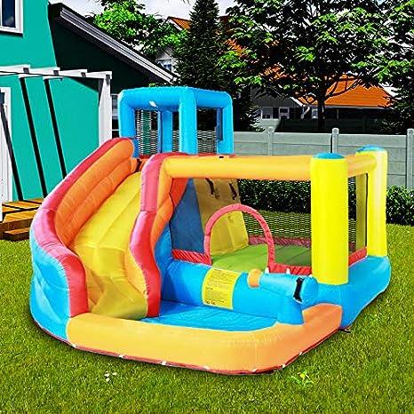 Parque de Atracciones Castillo Hinchable Inflable Gorila Adecuado para 5~8 niños/niños/bebés, con tobogán, cañones de Agua y Pared de Escalada, al Aire Libre Garden Party Regalo