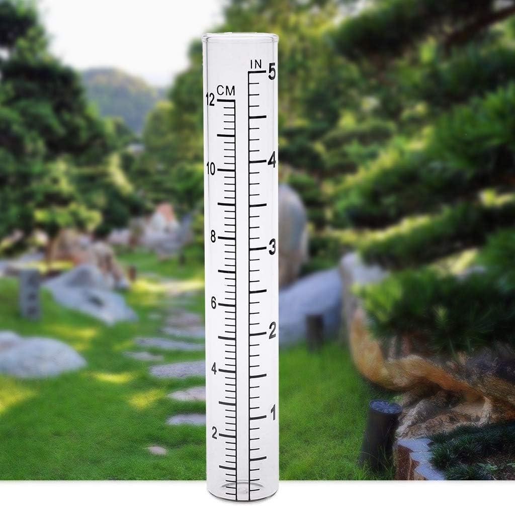 RUZYY 2Pieces Clear Capacity Glass Rain Gauge Replacement Tube Outdoor Garden Yard Home