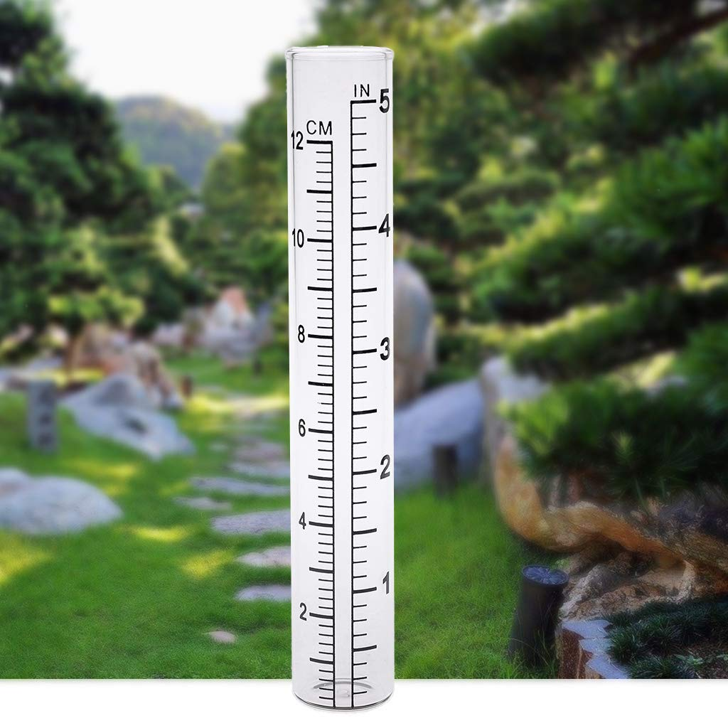 Onpiece 2 Pcs Clear Capacity Glass Rain Gauge Replacement Tube for Outdoor Garden Yard Home
