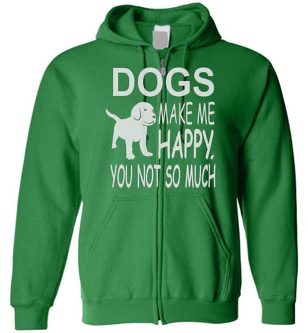 TSHIRTAMAZING Dogs Make Me Happy Zip Hoodie