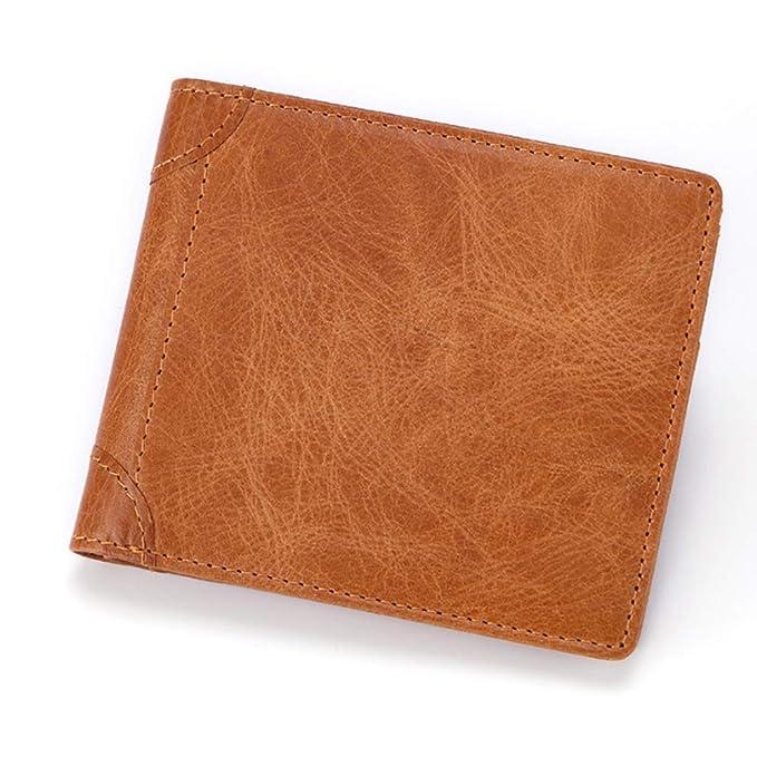 Easy Go Shopping Billetera de los hombres Capa superior Aceite Cera de cuero Multifunción Monedero anti