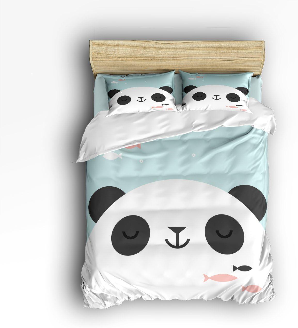 T&H Home Cute Panda Headshot for Kids Bedding Duvet Cover Set,4-Piece Suit Queen Size,100% Cotton Bed Sheets Set,Soft,Comfortable,Breathable