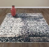 Diagona Designs Contemporary Floral Design Modern 8′ X 10′ Area Rug, 94″ W x 118″ L, Teal/Ivory/Gray/Navy (JAS2086) Review