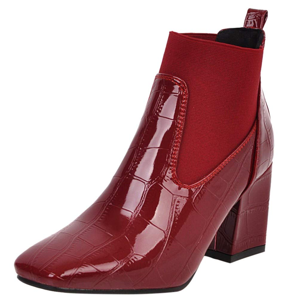 Kauneus Womens Fashion Leather Crocodile Pattern Short Boots Classic Square Toe Chunky Heel Ankle Booties Red by Kauneus Fashion Shoes