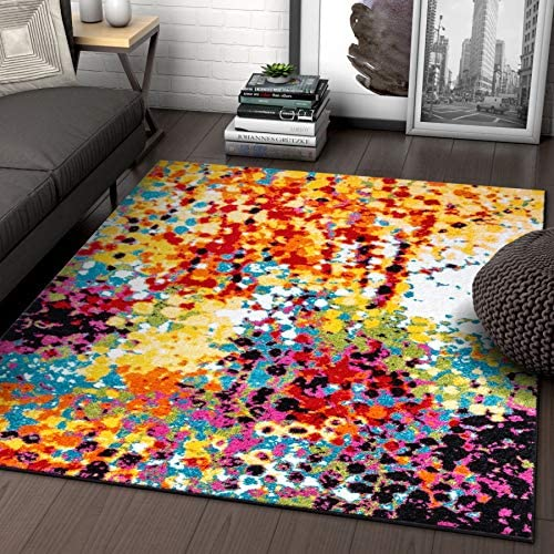 Well Woven Impasto Multi Color Geometric Brush Stroke Area Rug 9×13 9 3 x 12 6 Modern Abstract Contemporary Painting Thick Soft Plush Living Dining Kid Children Room Playroom Nursery