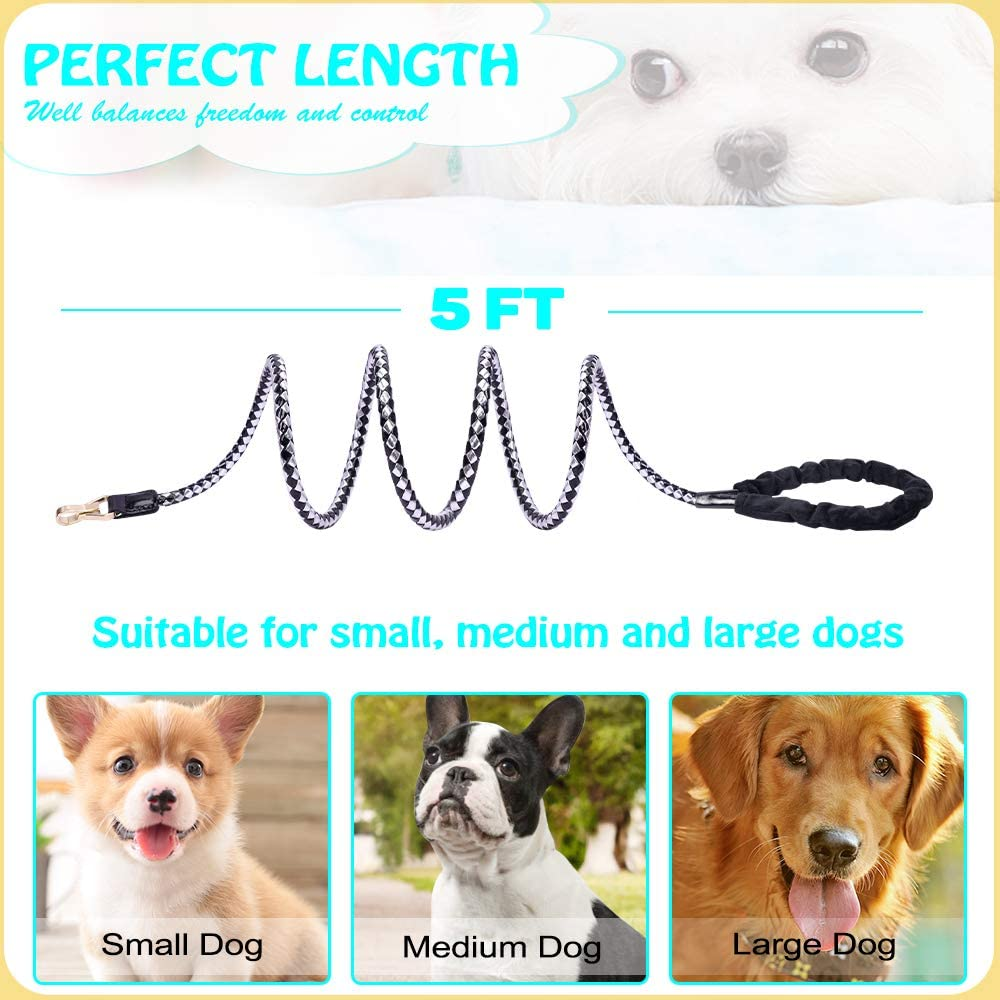 Dog Leash, PetsHome Dog Lead Premium PU Leather Durable and Soft 1.8m//6ft Leash for Control Safety Training Bling Rhinestones Walking Lead for Small to Large Dogs Gold