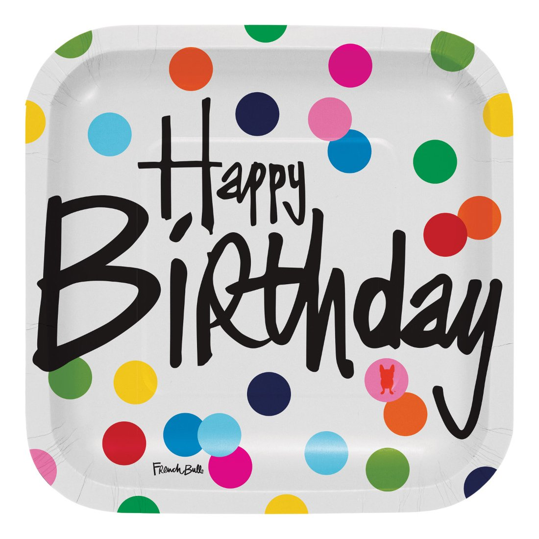 French Bull Birthday Dots- 7-Inch Square Snack Plate, 10-Count - 322130
