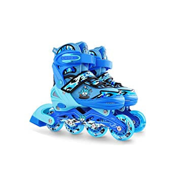 Patines en línea, patines de ruedas para niños, cuatro ruedas de tamaño ajustable,