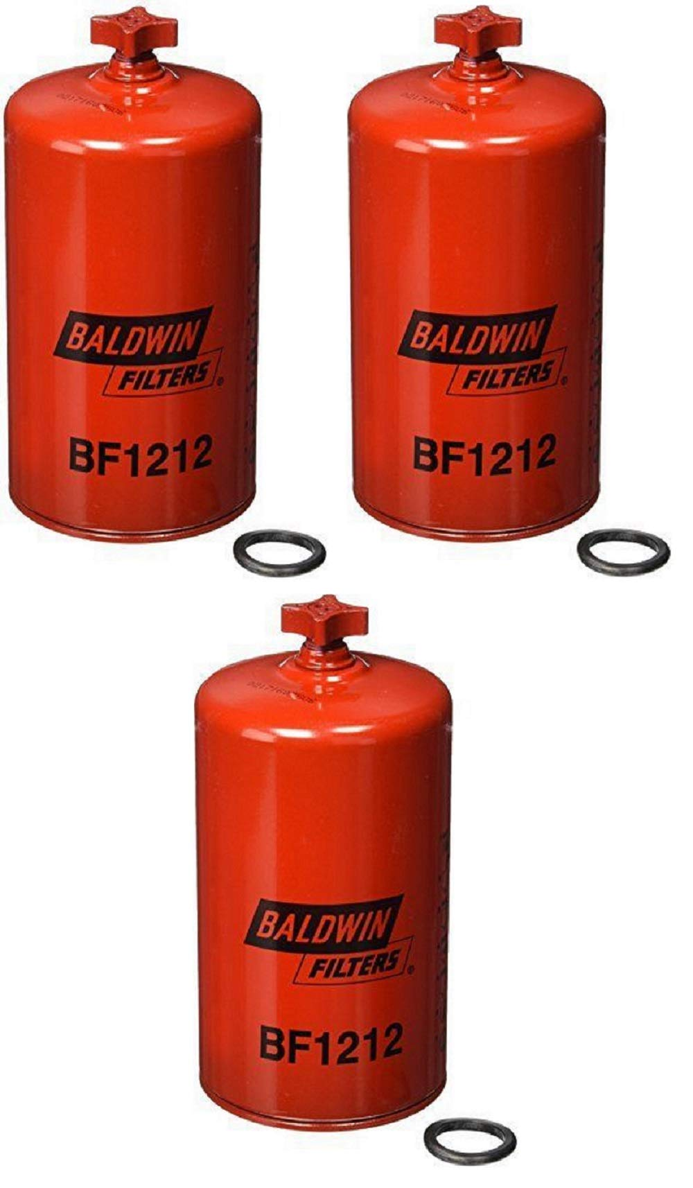 Baldwin BF1212 Heavy Duty Diesel Fuel Spin-On Filter (Pack of 3)