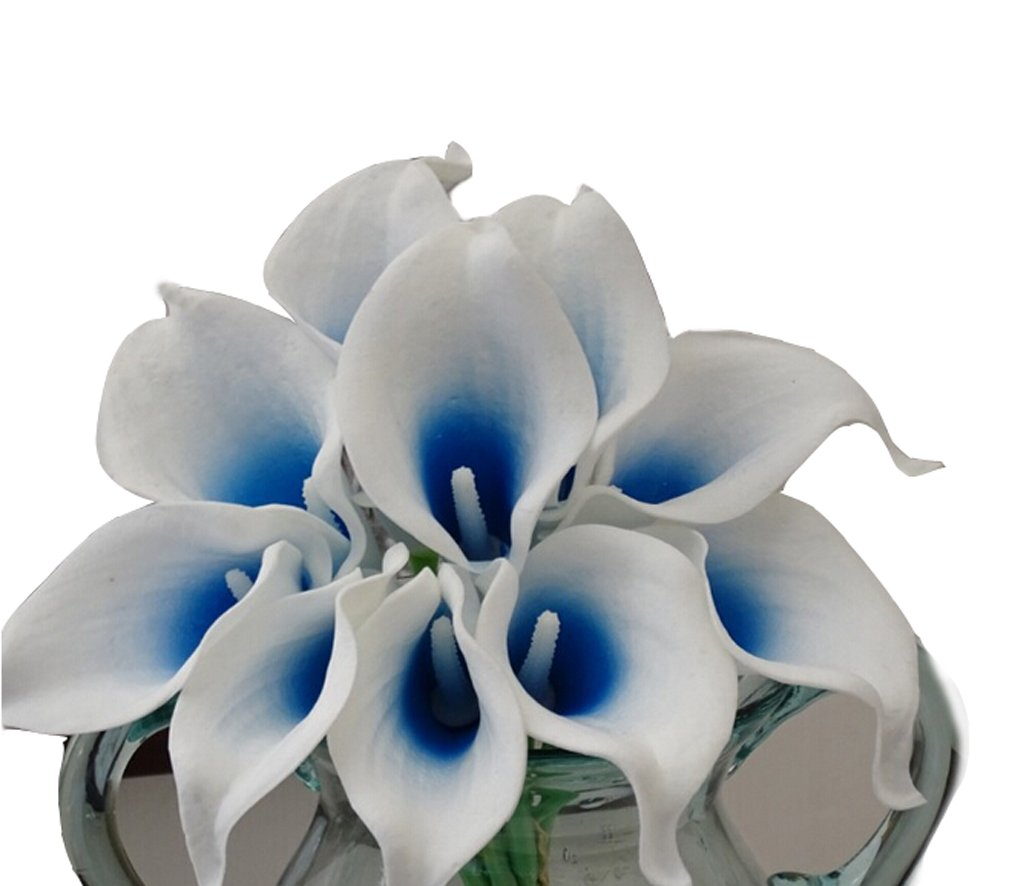 Flyusa 10 Pcs Calla Lily Bridal Wedding Bouquet Head Real Touch Flower Bouquets Artificial Flowers for Home Party Decoration(Blue White)