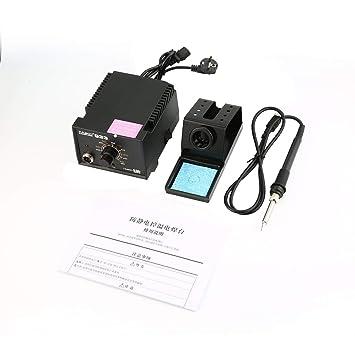 TAIKD 110V / 220V UE Tipo de enchufe 55W Temperatura constante antiestática Estación de soldadura multifuncional Soldador de hierro - Negro: Amazon.es: ...