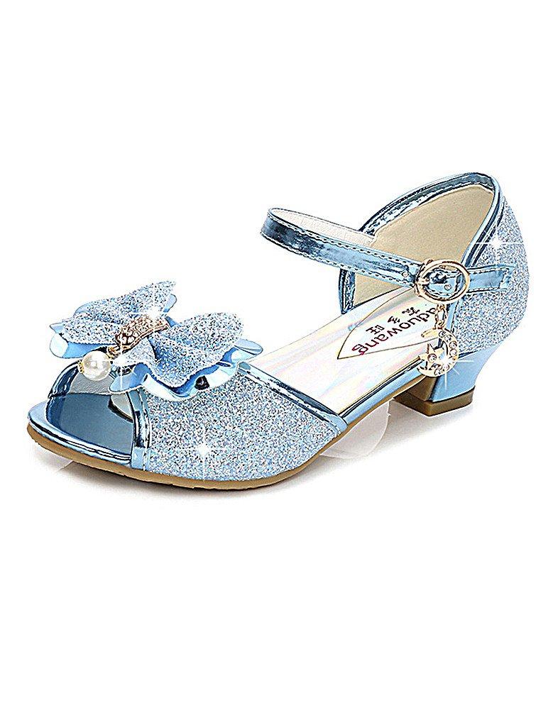 KISSOURBABY Sandal Heels for Girls Blue Toddler Kids Wedge Dress Shoe Sequin Cute Sandals Sky Blue Performance Size 13.5 Wedding Princess (Blue 30)