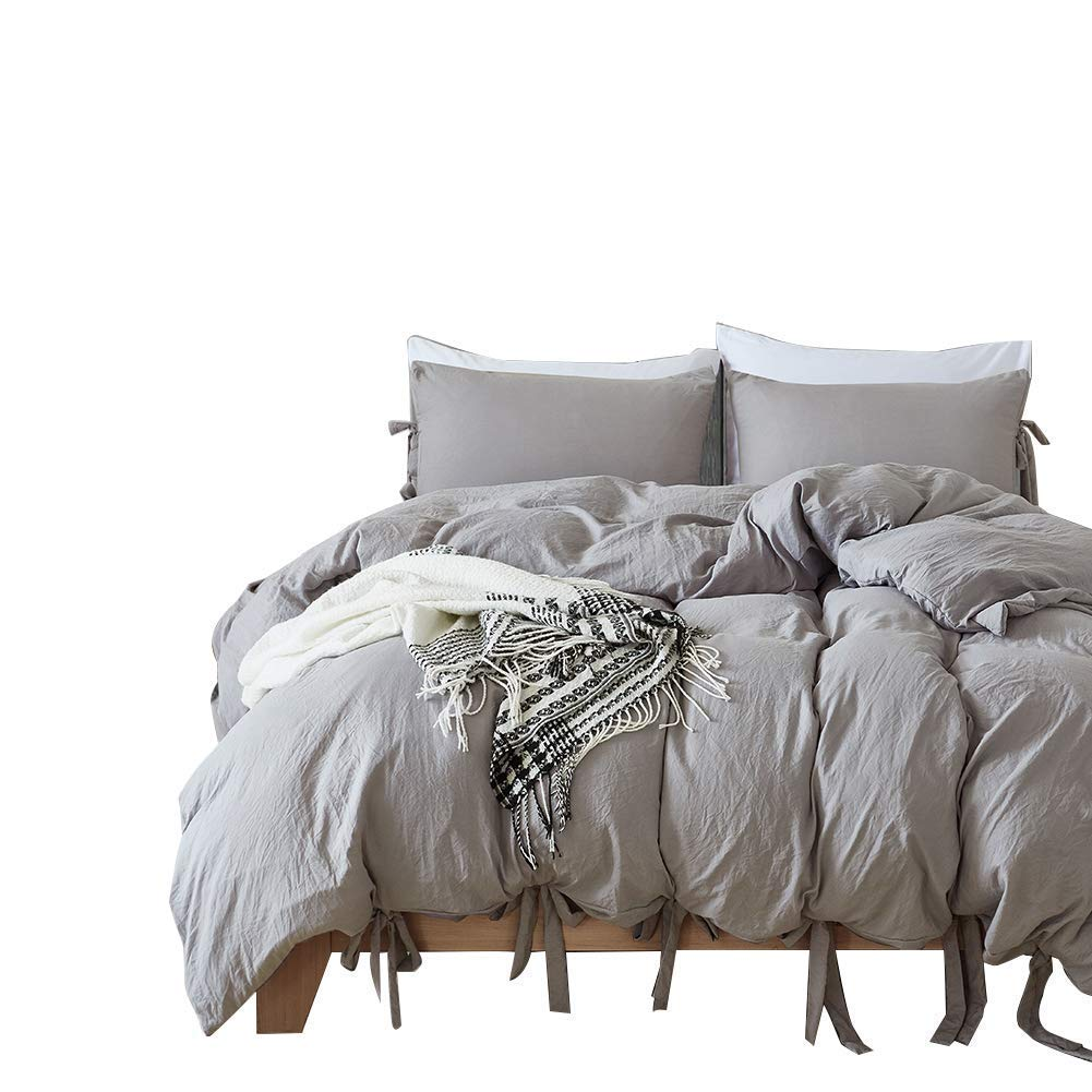 Hotel calidad 100% juego de funda de edredón de microfibra Lavado a la piedra natural 3 unidades (1 funda de edredón, 2 fundas de almohada) suave como la ...
