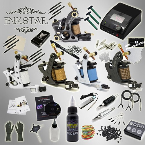 Complete Tattoo Kit Inkstar Ace C 5 Machine Gun Power Supply and Radiant Colors Pro Black Ink